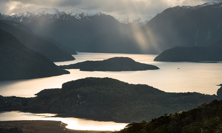 Sunset view of Lake Manapouri