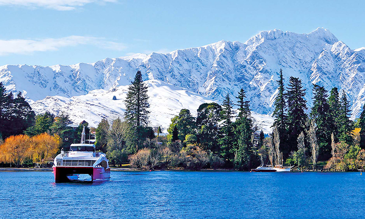 View of The Remarkables covered in snow