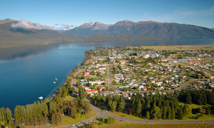 Aerial view of Te Anau township