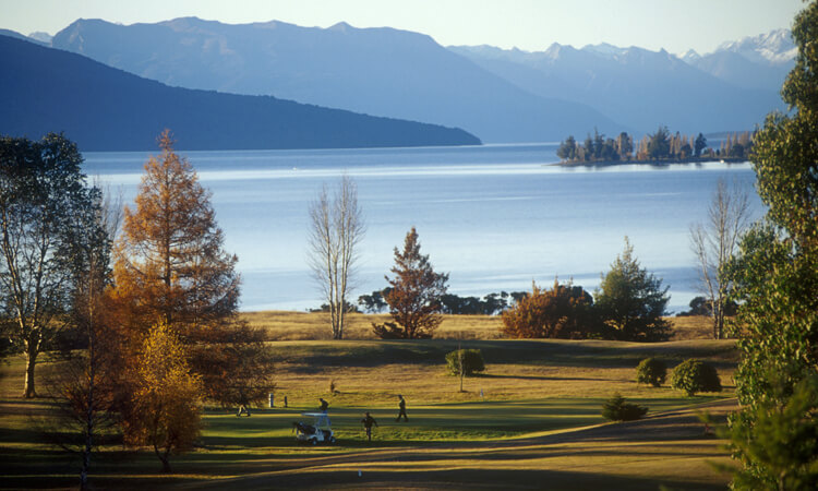 View over Te Anau golf course towards Fiordland National Park